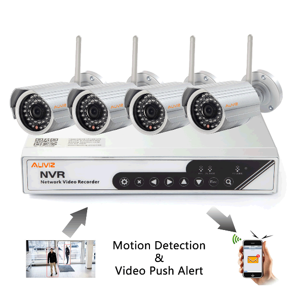4CH Wireless NVR Kits with Video Push